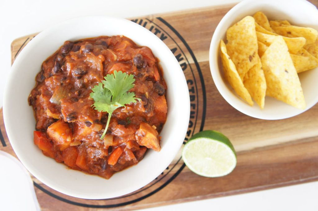 Zoete aardappel chili